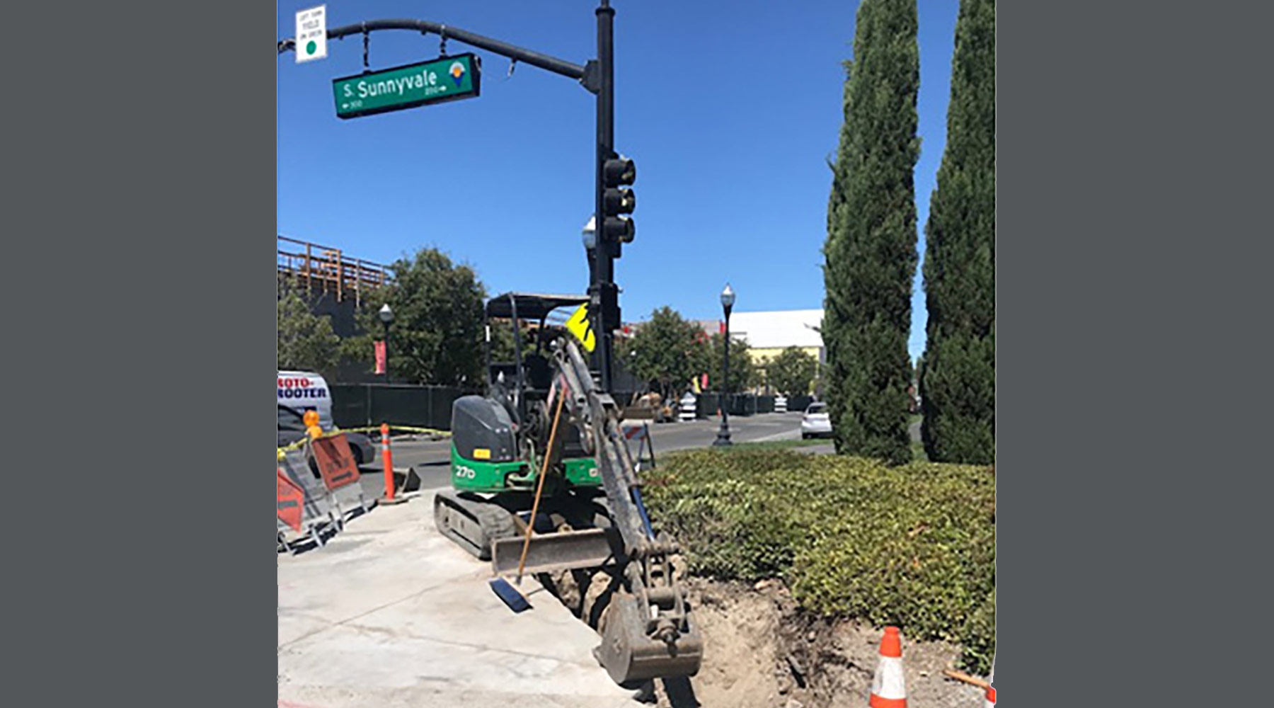 Trenching for traffic signal conduit install at Sunnyvale/McKinley intersection.