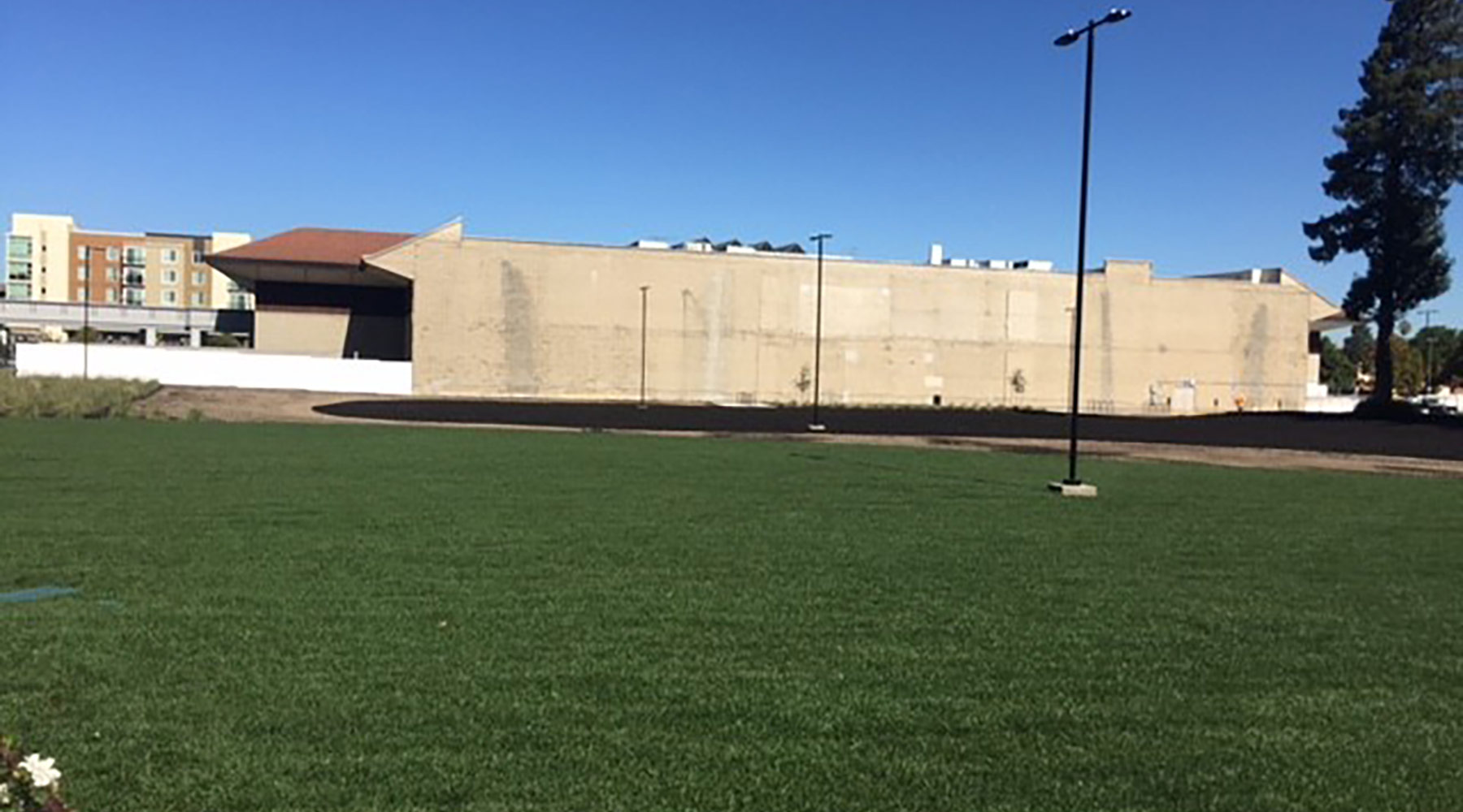 Lawn and irrigation complete; light poles in place and working.